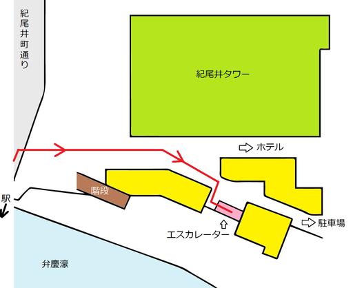 紀尾井町通からビル1階に入ってエスカレーターまで